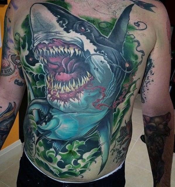 Full Chest Shark Mens Great Tattoo Design Ideas