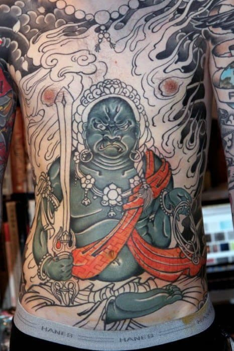Full Chest Sharp Fudo Myoo Male Tattoo Ideas
