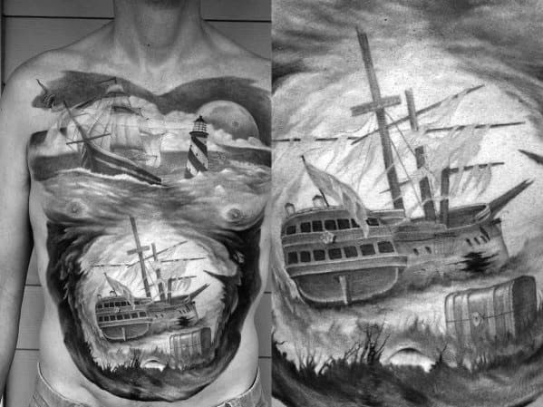 Full Chest Shipwreck Mens Tattoo Ideas