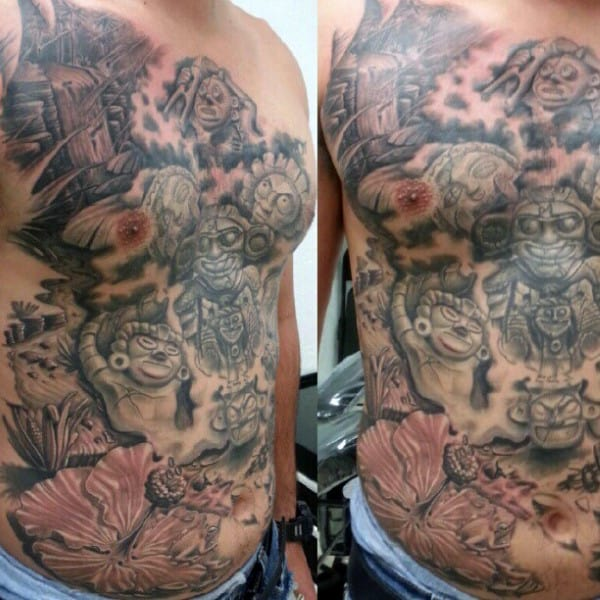 Full Chest Themed Taino Male Tattoo Designs