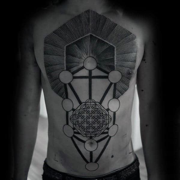 Full Chest Unique Mens Geometric Tattoo Ideas