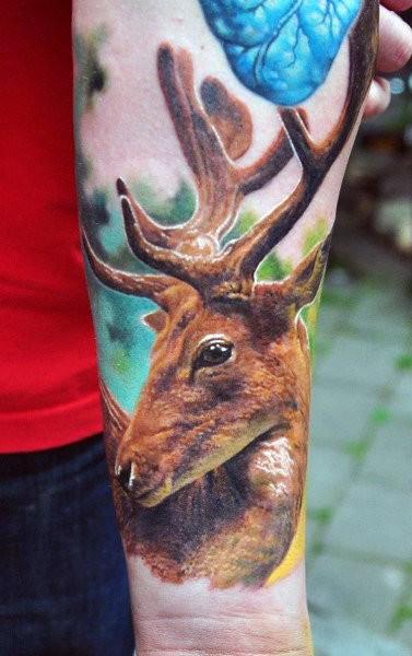 Full Color Inner Wrist Deer Tattoo For Men