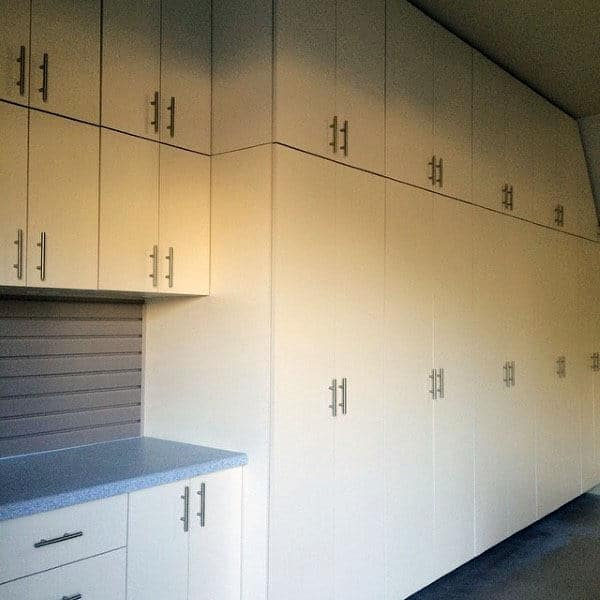 Full Custom Garage Storage Cabinets With Wite Finish And Metal Handles