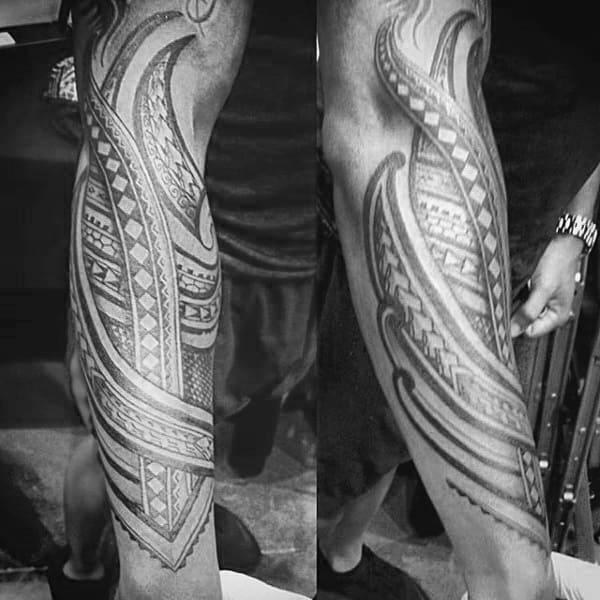 Full Forearm Mens Tribal Polynesian Tattoos