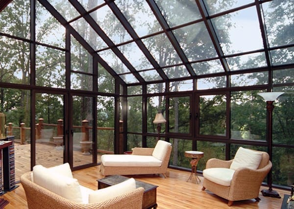 Full Glass Walls And Ceiling Outdoor Lounge Sunroom Ideas