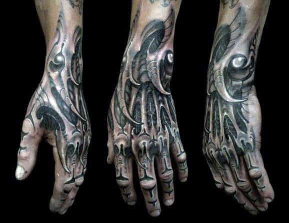 Full Hand And Knuckle Mens Tattoo Of Skeleton Bones