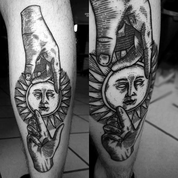 Full Leg Gentleman With Sun Face Tattoo Being Held By Hands
