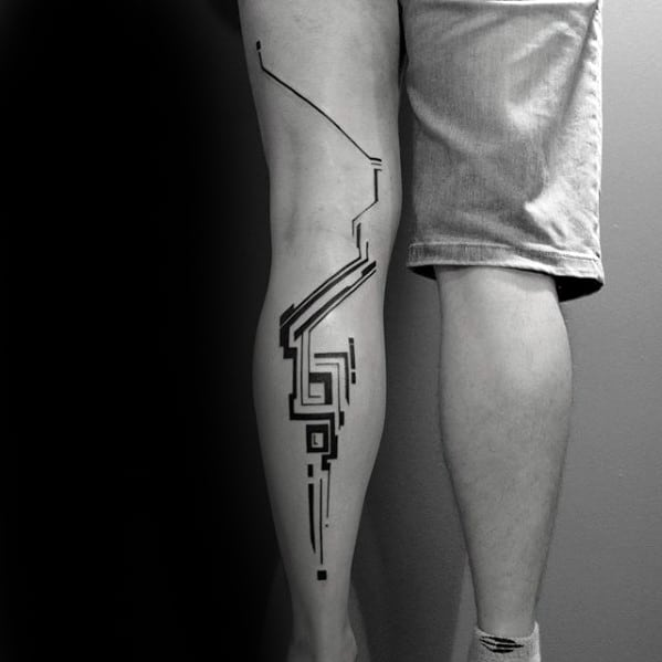 Full Leg Guys Simple Line Geometric Tattoo Inspiration