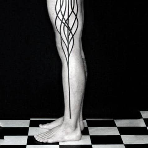 Full Leg Mens Fine Line Tattoos