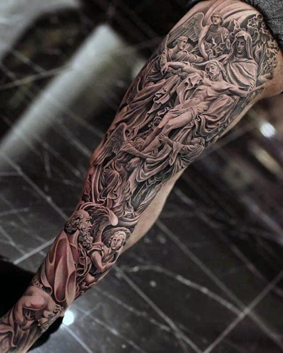 Full Leg Ornate Mens Catholic Religious Sleeve Tattoo Designs