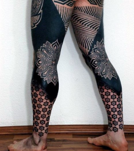 Full Leg Sleeve Blackwork Tattoos For Men With Geometric Shapes