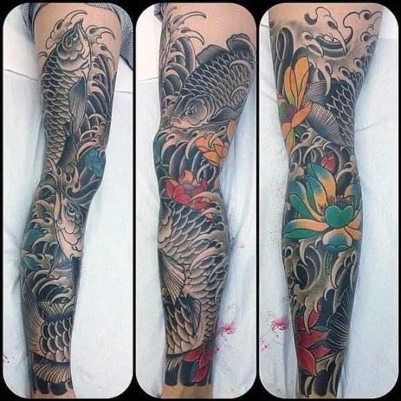 Full Leg Sleeve Cool Arowana Tattoo Design Ideas For Male