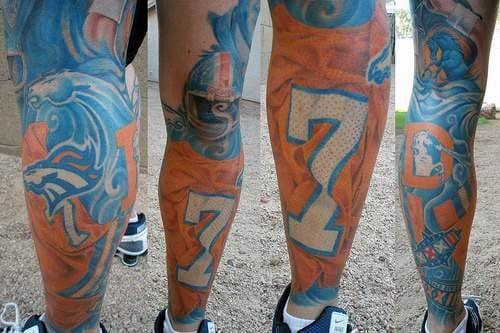 Full Leg Sleeve Denver Broncos Guys Tattoo Inspiration