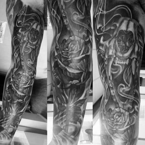 Full Leg Sleeve Lion Skull Mens Tattoos