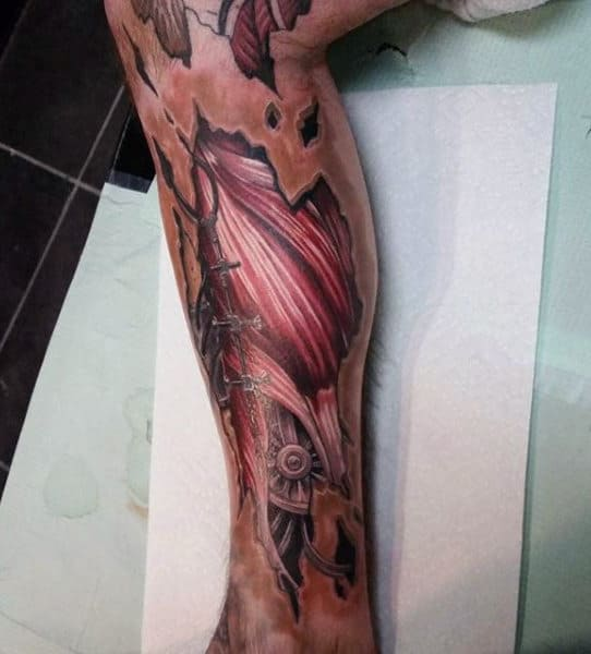 Full Leg Sleeve Male Muscle Tattoos