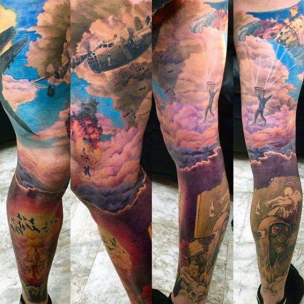 Full Leg Sleeve Male Mushroom Cloud Explosion Tattoo Ideas