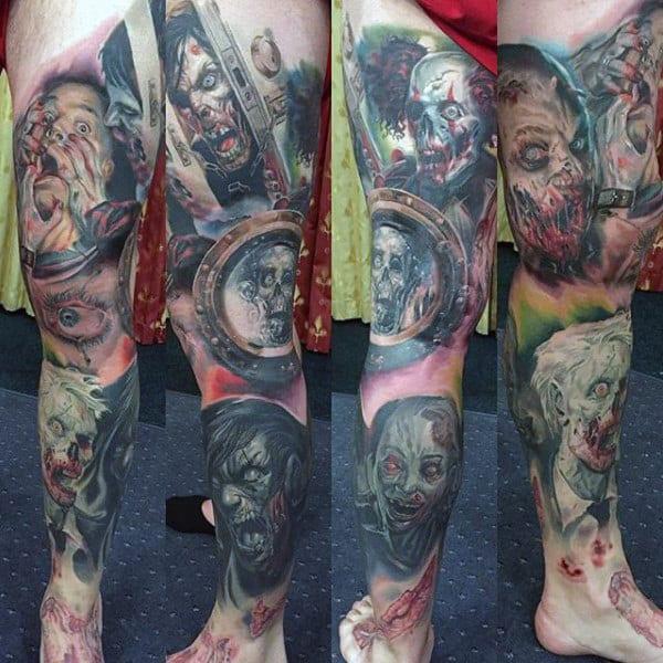 Full Leg Sleeve Male Zombie Themed Tattoos
