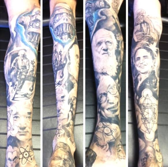 Full Leg Sleeve Of The Greatest Scientists For Men
