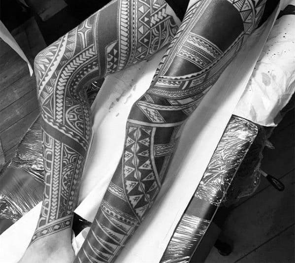 Full Leg Sleeve Polynesian Guys Tribal Tattoo