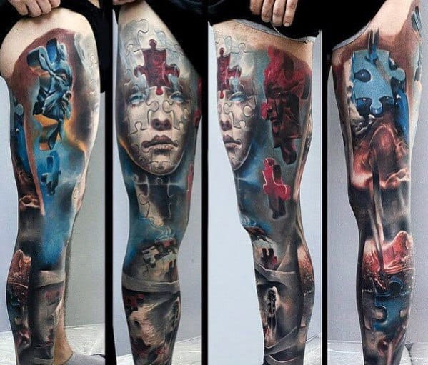 Full Leg Sleeve Puzzle Themed 3d Tattoo Ideas For Men