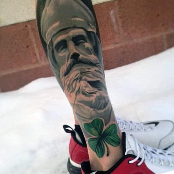 Full Leg Sleeve Shamrock Mens Tattoos