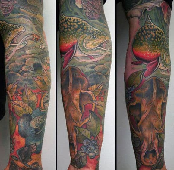 Full Leg Sleeve Tattoo With Trout Design For Men