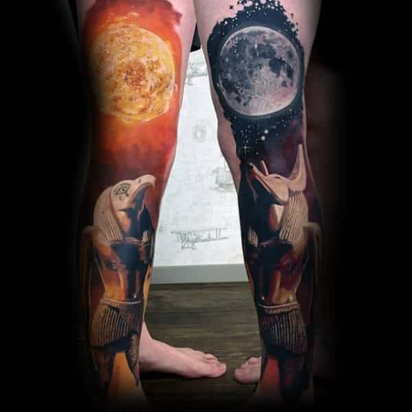 Full Leg Sleeves Anubis Mens Moon And Sun God Tattoo