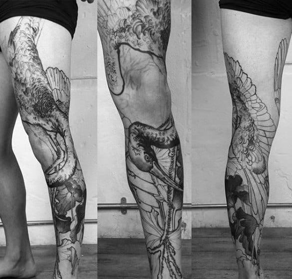 Full Leg Tattoo With Crane Bird Design For Gentlemen