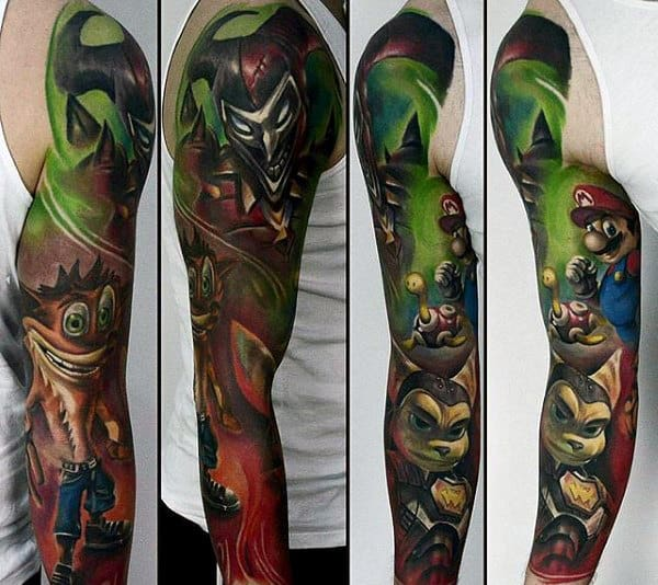 Full Mario Video Gamed Themed Sleeve Tattoos For Guys