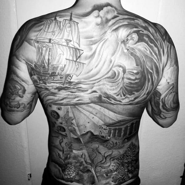 Full Mens Back Tattoo With Underwater Scene