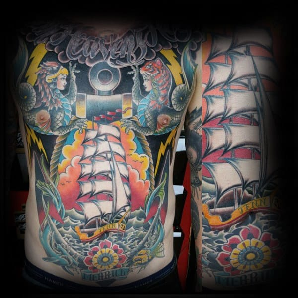 Full Mens Chest Old School Nautical Traditional Tattoo Design Ideas