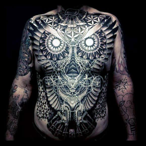 Full Mens Chest Tattoo Abstract Geometric Owl Design