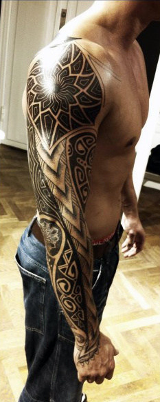 Full Men's Sleeve and Shoulder Tattoo