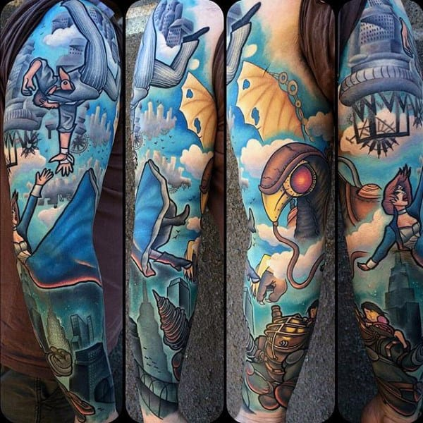 Full Mens Sleeve Tattoo Of Bioshock Video Game