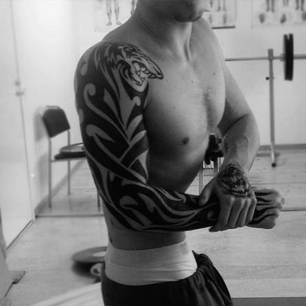 Full Mens Sleeve Tribal Tattoo