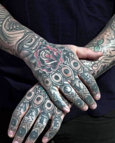 Full Mens Tribal Finger Tattoos