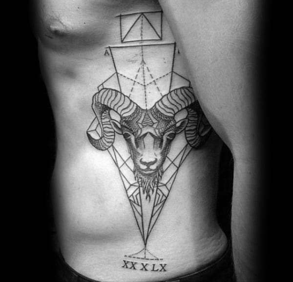Full Rib Cage Side Aries Mens Geometric Tattoo Designs