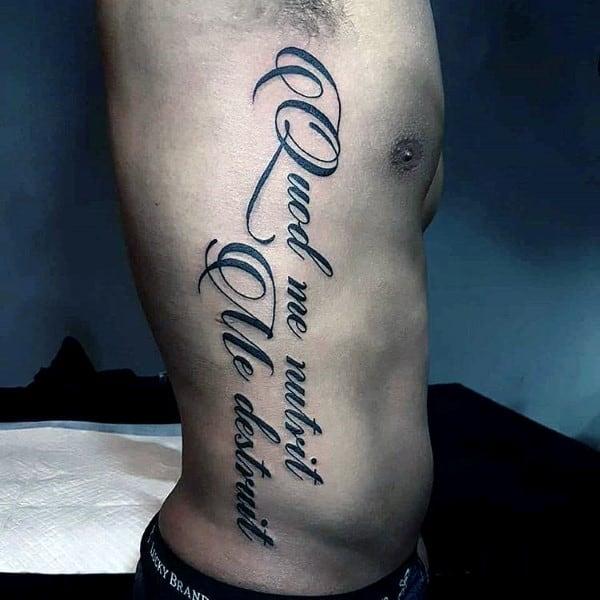 Full Rib Cage Side Fancy Script Guys Tattoos
