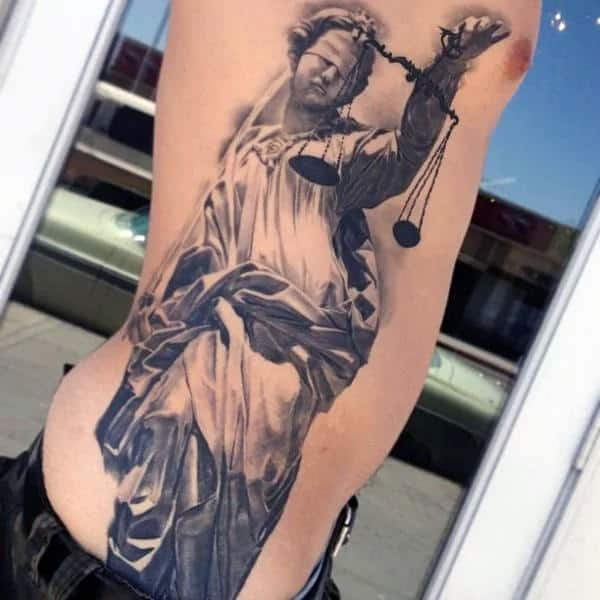 Full Rib Cage Side Lady Justice Mens Realistic 3d Tattoo Designs