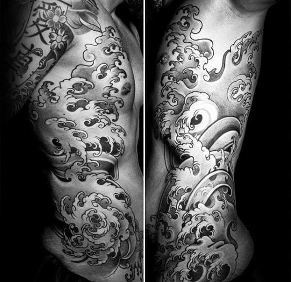 Full Rib Cage Side Manly Mens Japanese Wave Tattoos