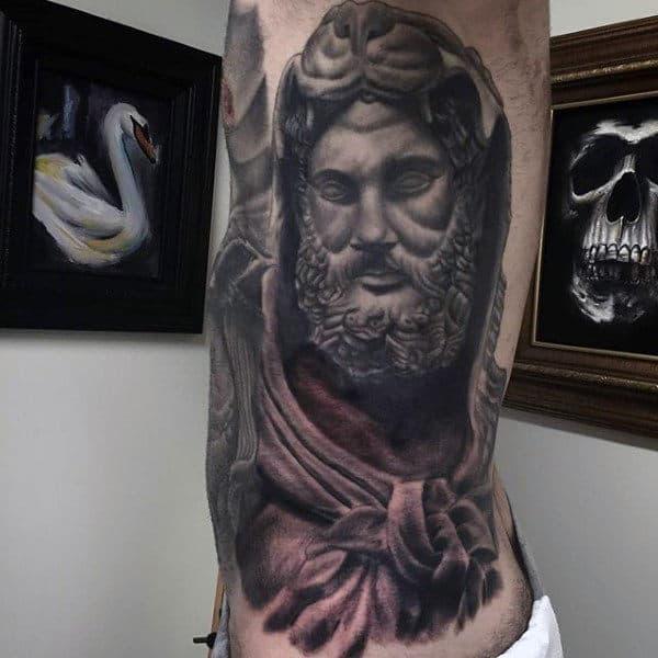 Full Rib Cage Side Of Body Hercules Mens Tattoo Ideas