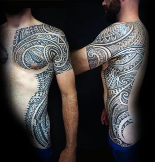 Full Rib Cage Side Of Body Mens Tribal Tattoos