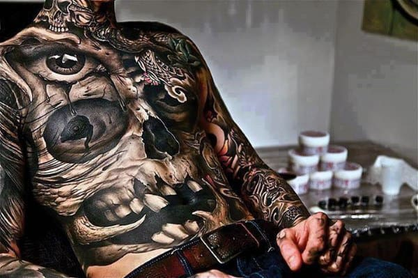 Full Skull Manly Stomach Tattoos For Men In Black Ink