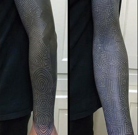 Full Sleee Blackwork White Ink Male Tattoo