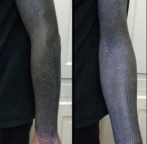 Full Sleee Blackwork White Ink Male Tattoo