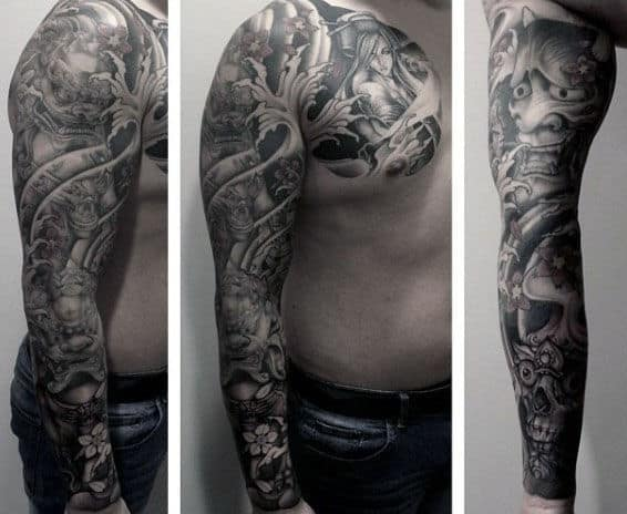 Full Sleeve And Chest Foo Dog Tattoos For Guys