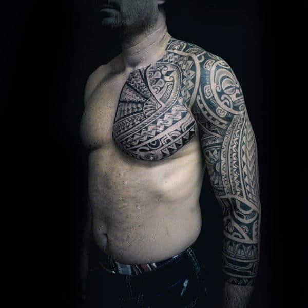 Full Sleeve And Tribal Shoulder Mens Tattoos