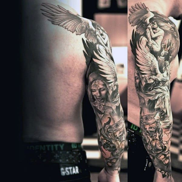 Full Sleeve Angel Tattoos For Men