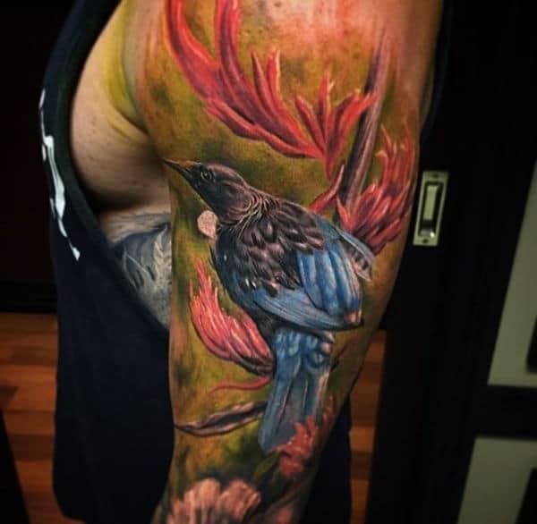 Full Sleeve Animal Bird Male Tattoos Colorful Ink