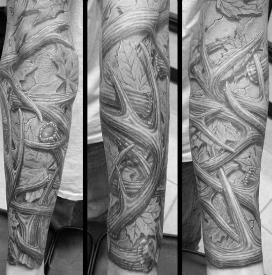 70 Antler Tattoo Designs For Men - Cool Branched Horn Ink ...